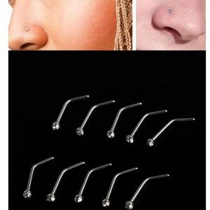 Curved Stainless Steel Diamond Nose Stud Nose Ring